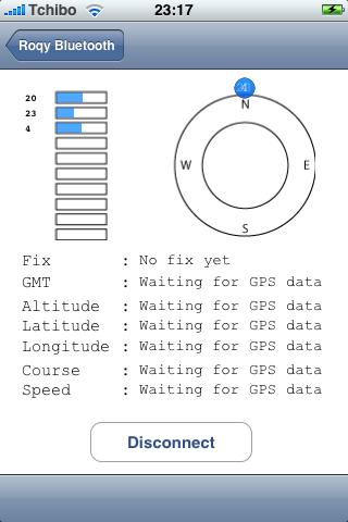 roqyBT erster Aufruf - noch kein GPS-Fix