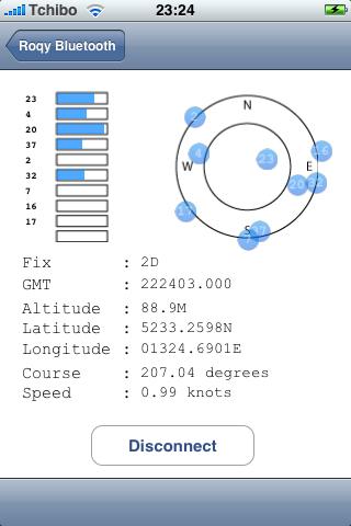 roqyBT erster Aufruf - mit GPS-Fix